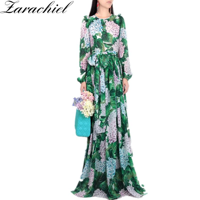 New 2019 Runway Hydrangea Floral Fall Dress Women Green Leaves Flower Print Diamond Buttons Ankle-Length Pleated Chiffon Dresses