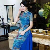 2018 New Blue Lady Vietnam Aodai Stampa Floreale Maglia Qipao Sexy Donne Abito Vintage Cheongsam Tradizionale Cinese S-XXXL