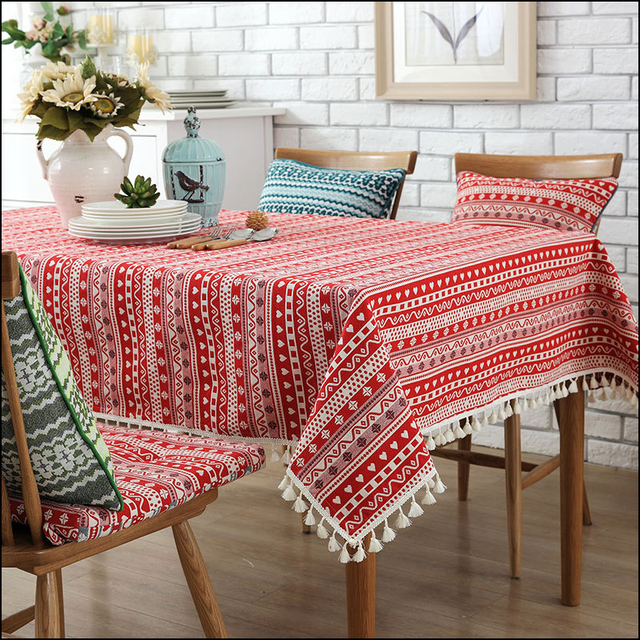Pastoral Square Table Cloth Dust Proof Floral Printed Tablecloth Tassel  Edge Table Cover Cafe Decortion Fatin