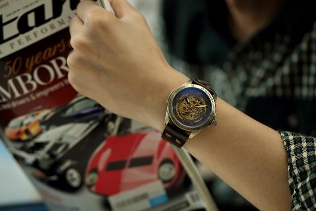 SHENHUA Clock Men Retro Bronze Case Male Wristwatch Skeleton Mechanical Watch Automatic Relogios Masculinos Vintage Watch