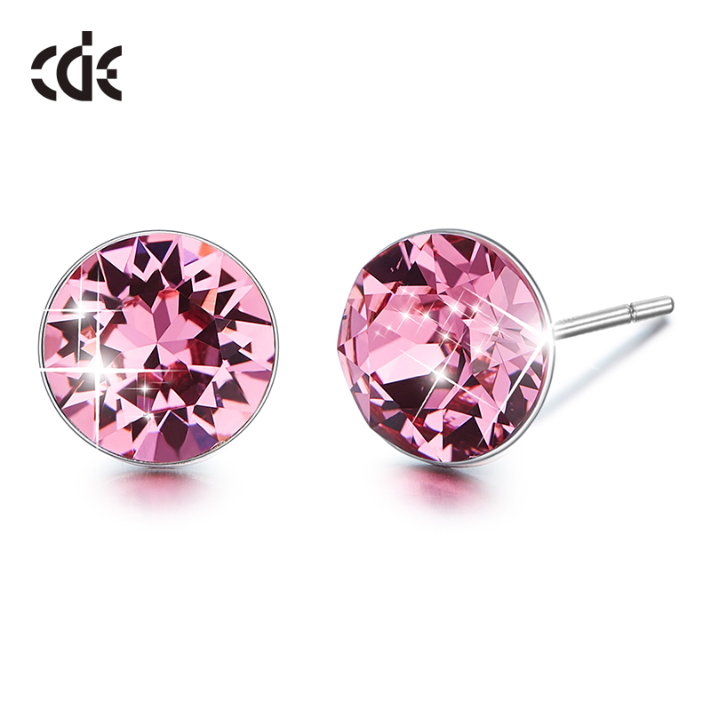 CDE 925 Sterling Silver Earrings Embellished with crystals from Swarovski Round Geometric Stud Earrings For Women Ear JewelryCDE 925 Sterling Silver Earrings Embellished with crystals from Swarovski Round Geometric Stud Earrings For Women Ear Jewelry