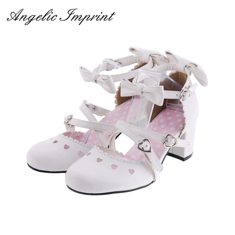 Japanese Sweet Lolita Cosplay Princess Pumps Buckle Strap Bows Bridal High Heels Shoes юбка blue shells cosplay pettiskirt tutu lolita
