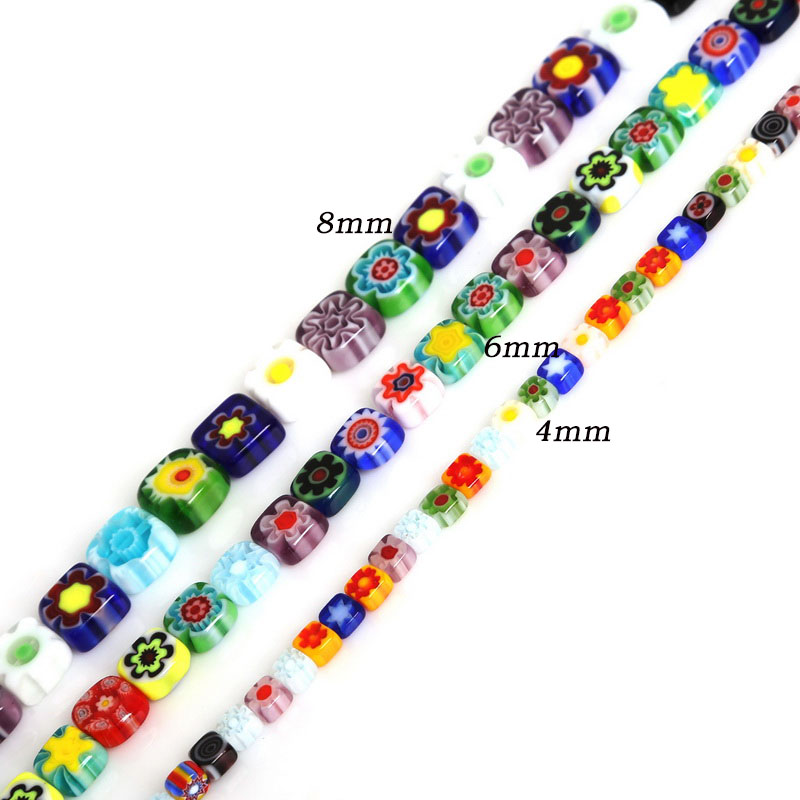 4/6/8mm Approx 48-95pcs Mixed Flat Square Shape Millefiori Flower Lampwork Glass Beads For Jewelry Making Necklace Bracelet DIY(China)