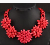 Red Shourouk necklace Kpop Designer brand luxury jewelry exaggerated chunky big flower Women wedding accessories wholesale/gift