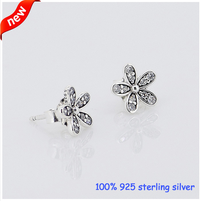 Jewelry Stud Silver Earrings 100%925-Sterling-Silver with Daisy New DIY 09E013 Compatible