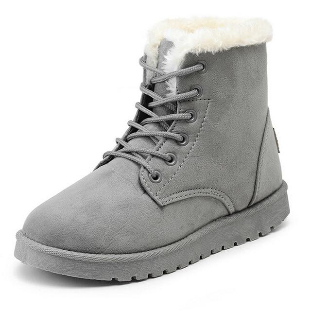 Invierno de las mujeres de Gamuza Botas de Nieve Del Tobillo Botas de Mujer Caliente del Invierno Zapatos de Mujer de Punta Redonda Botas de Mujer