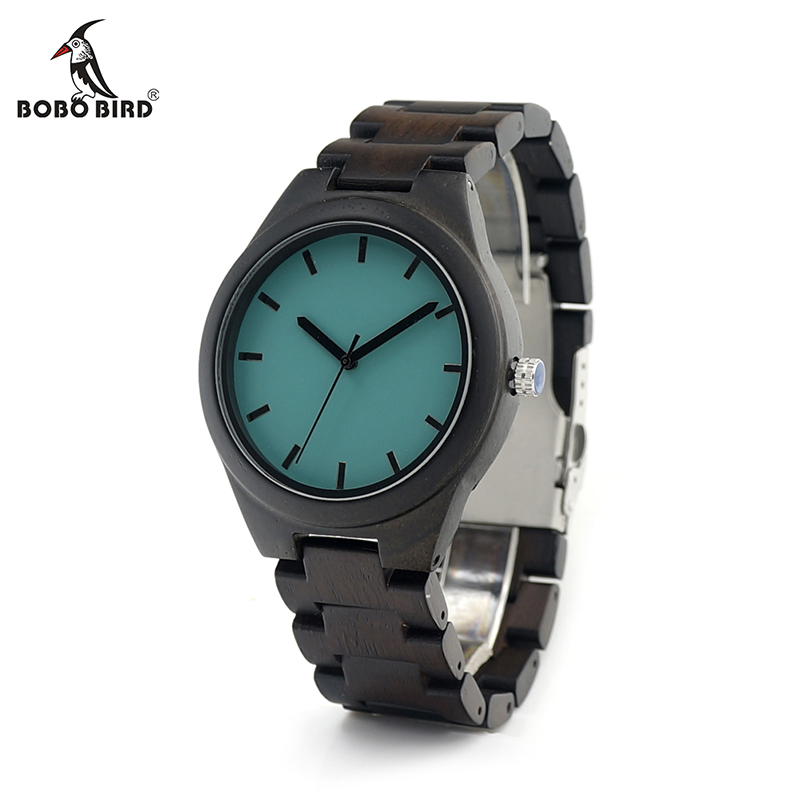 BOBO BIRD V-I21 Mens Ebony Wood Wristwatch Blue Dial Wooden Links Quartz-watch in Gift Box Men Watches 2016 bobo bird i26 mens unique ebony wooden watches deer head dial casual quartz wrist watches with wood links in gift watch box