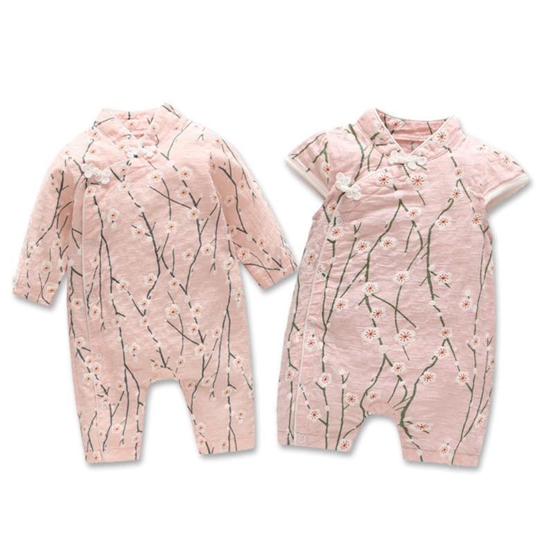 Baby Girl Cheongsam Chinese New Year Gift Rompers Infant Baby Cotton Cheongsam Chinese Clothes Onesie