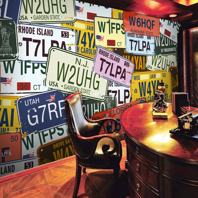 Free Shipping large mural retro personalized car license plate wallpaper KTV bar background wallpaper tin sign 20x30cm 12552 vintage license plate retro car speed poster