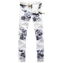 Hot Sale Flower Print White Jeans Letter Print Man Slim Trousers