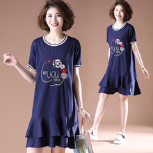 #0195 Plus Size Dresses For Women 4XL 5XL Embroidery Floral Short Sleeve Round Neck Cotton Ruffles Pleated Ladies Mini