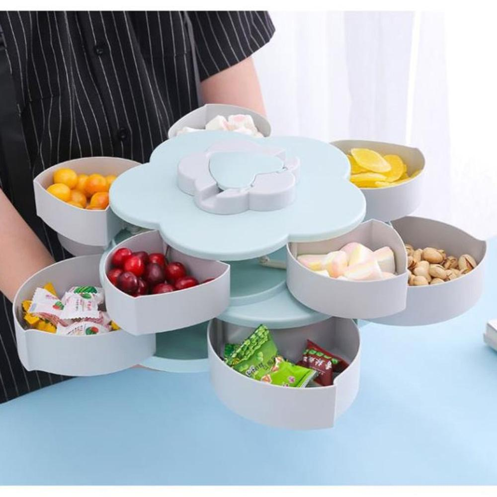 Double-Layer Rotating Fruit Plate Petal Shape Dried Fruit Plate Snack Storage Tray Living Room Candy Dish Dried Fruit Plate(China)