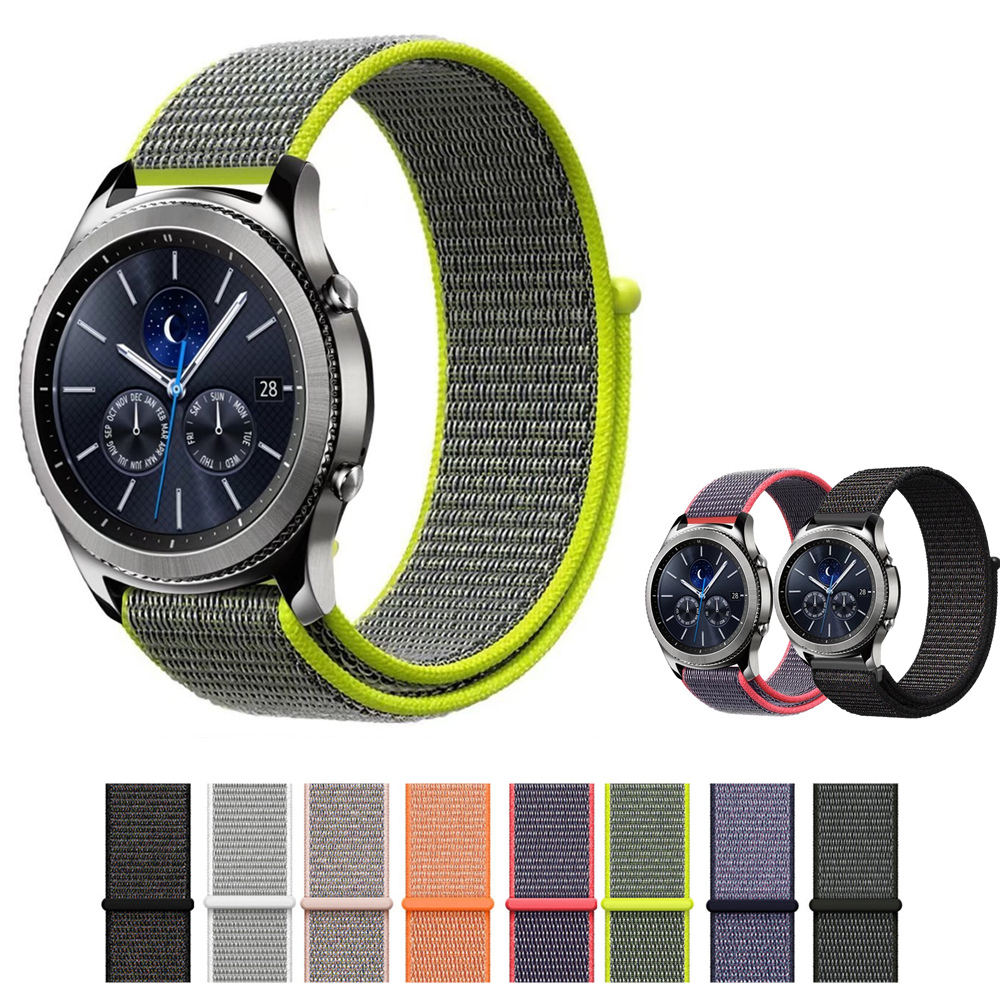 22mm Sport loop bracelet for samsung gear s3 frontier/classic band strap smart watch nylon watchband for Xiaomi Huami Amazfit survival nylon bracelet brown