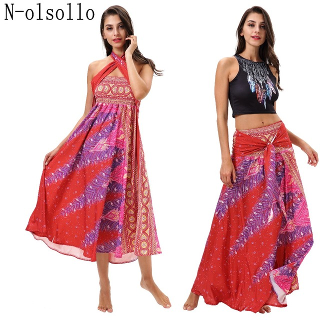 eeac98817261 N-olsollo 2019 New Summer Dress For Womens Clothing Wear In Many Ways  Palazzo Print Girls Party Bohemian Dress Sexy Long Dresses