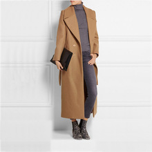 2016 European New Arrival Fashion Autumn Winter Ultra Long Women's Overcoat Solid Color Double Breasted Woolen Jacket Coat Camel