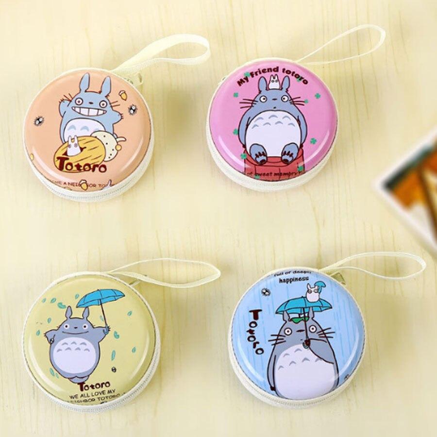 XYDYY Cartoon Totoro Prints Women Coin Purse Cases Cute Emoji Round Change Cases Bag Portable Female Zipper Small Change Wallet