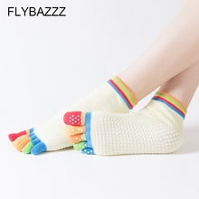 New Anti-Slip Women Yoga Socks Ankle Grip Durable Colorful Five Fingers Cotton Full Toe Ladies Massage Sport