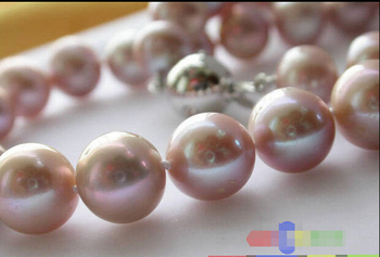 "Free shipping@@@@@  17"" 11mm lavender ROUND FRESHWATER CULTURED PEARL NECKLACE magnet p1634"