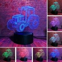 الإبداعية ثلاثية الأبعاد سيارة جرار ديناميكية 7 ألوان تغيير USB مكتب الجدول مصباح البعيد اللمس قاعدة الاطفال عيد الميلاد عيد الميلاد سيارات لعبة هدية