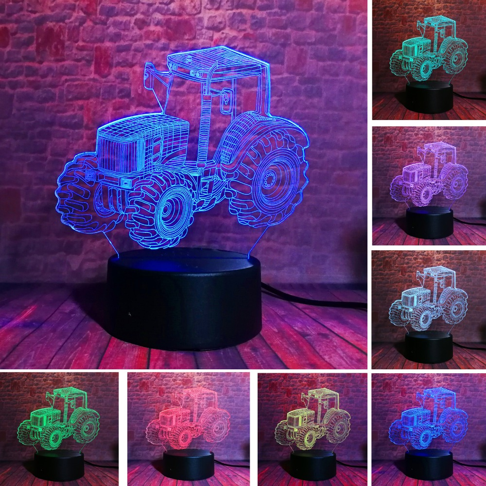 Creative <font><b>3D</b></font> Dynamic Tractor <font><b>Car</b></font> Vehicle 7 Colors Changing USB Desk Table Lamp Remote Touch Base Kids Birthday Xmas Toy <font><b>Car</b></font> Gift image
