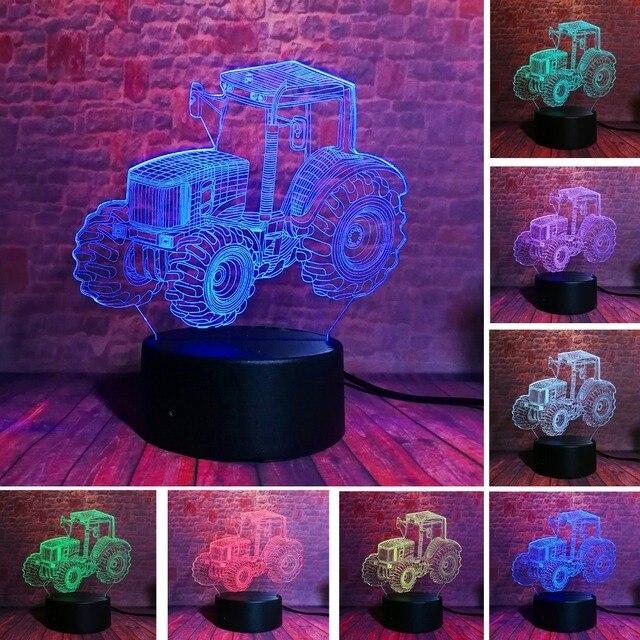 Yaratıcı 3D dinamik traktör otomobil araç 7 renk değiştirme USB masa masa lambası uzaktan kumanda dokunmatik taban çocuklar doğum günü noel oyuncak araba hediye