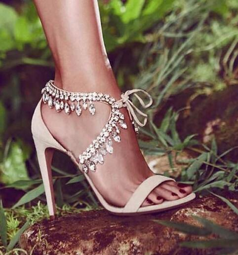 hot sale woman summer rhinestones lace up high heel sandals sexy open-toed rhinestone high heel sandal Rome crystal sandal woman msstor round toe open toed women sandals fashion crystal high heels women sandals new summer wedges high heel sandal woman shoes