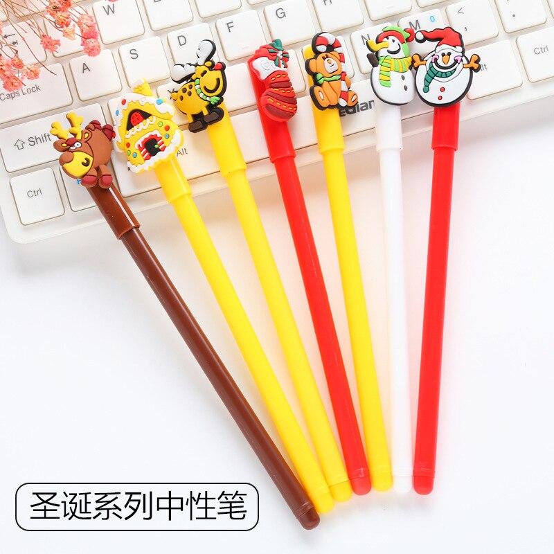2Pcs/Lot Novelty New Cute Creative Cartoon Christmas Deer Snowman Gel Pen Office School Gift Stationery Pen E0740