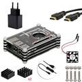 5 в 1 Комплект для Raspberry Pi 3, черный Акриловые 9 слоя Чехол + 5 В/2.5A Адаптер Питания Матч ВКЛЮЧЕНИЯ/Выключения Кабеля + Вентилятор + радиаторы + HDMI Кабель