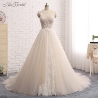 New Arrival Long Wedding Dress 2018 V Neck Sleeveless Ball Gown Appliques Tulle Vestido longo China Bridal Gowns casamento