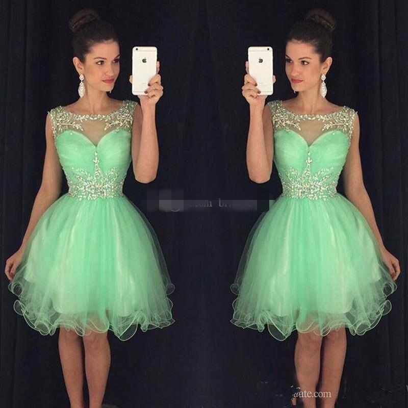 Weddings & Events Schwarz 2019 Homecoming Kleider A-linie Cap Sleeves Short Mini Tüll Perlen Kristalle Backless Elegante Cocktail Kleider