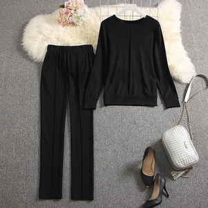 Image 5 - ALPHALMODA 2019 Outono Nova Chegada Qualidade das Mulheres Fatos de Treino Longo sleeved Camisola Calças 2pcs Sólido Conjunto de Moda Terno