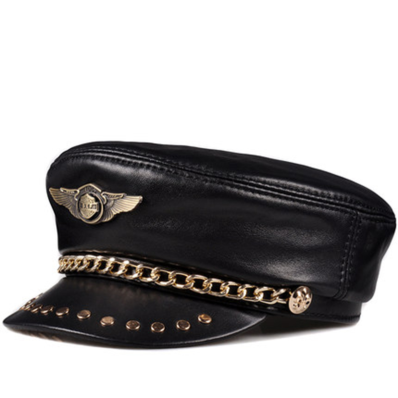 Baseball-Caps Punk-Rock Golden-Chain Army Genuine-Leather Flat-Top Women Hat Unisex Spring