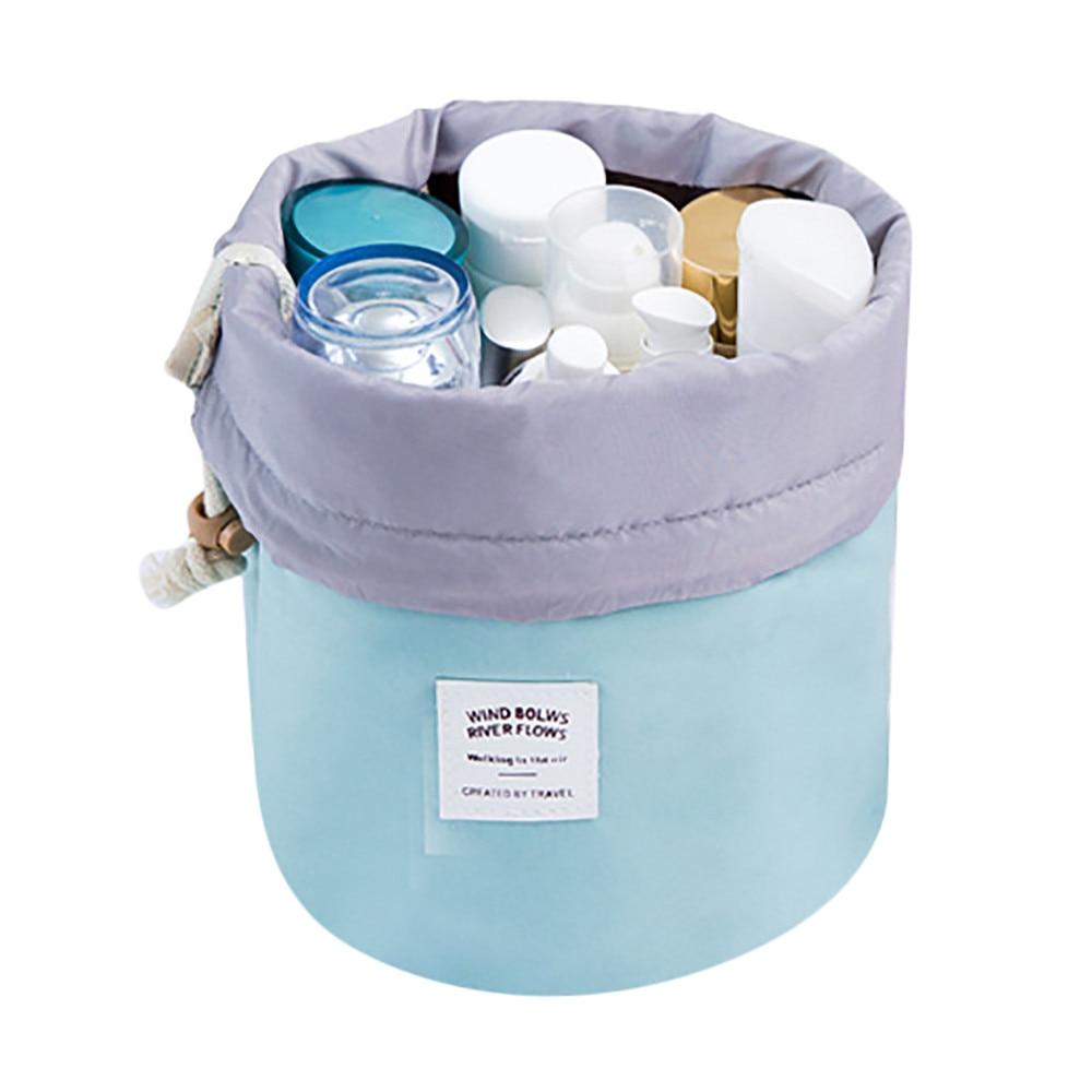 Fashion Barrel Shaped Cosmetic Bag Make Up Bag Drawstring Elegant Drum Wash Kit Makeup Beauty Bag rangement maquillage