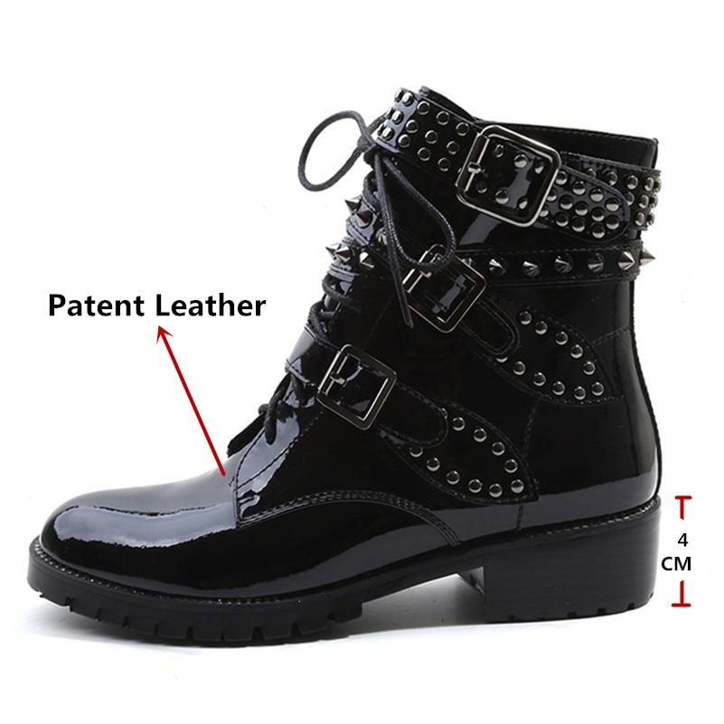 En Club Bottines Chaussures Noir Party Punk Night Rivets Verni Talons Hauts Moto Bottes Pour Conasco Cuir Courts Femme wFgAxX