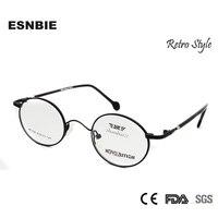 ESNBIE Pequeno Rodada Retro Óculos Homens Mulheres oculos de grau óculos de Metal Moldura De Vidro Do Vintage feminino Óculos Optik Mens