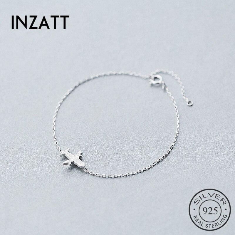 INZATT Minimalist Geometric Plane Bracelet Real 925 Sterling Silver  Personality Fine Jewelry For Women Birthday Accessories