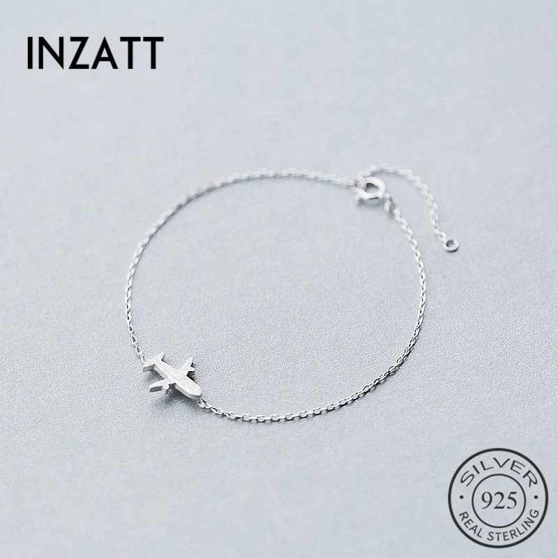 INZATT Minimalist Geometric Plane Bracelet Real 925 Sterling Silver Personality Fine Jewelry For Women Birthday Accessories