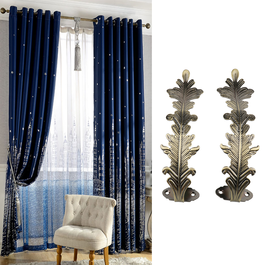 Us 14 24 45 Off New 2 Piece Metal Leaf Curtain Hooks Window Drapery Tieback Holdback Hanger Clothes Hooks Home Curtain Decorative Accessories In