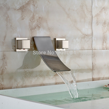 Luxury Creative Wall Mounted Basin Mixer Faucet Dual Handles Waterfall Bathroom Sink Faucet Brushed Nickel Finished