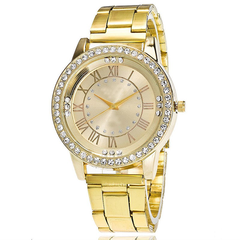 Women Stainless Steel Wrist Watchs Crystal Rhinestone Analog Quartz Bracelet Watch Gold/Sliver/Rose Red Colors