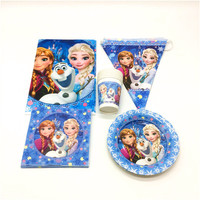 Party Supply Disney Frozen Anna Elsa Paper Tablecover Cup Plate Banner Girl Birthday Wedding Napkin Flag Decoration Supply 81Pcs
