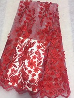 Latest Nigerian French Mech Lace Fabric Embroidered High Quality African Lace Fabric 2018 Orange Cord Lace