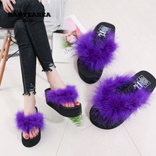 Solid Color Womens Summer Shoes Casual Fashion Furry Slippers Classic Fashionable