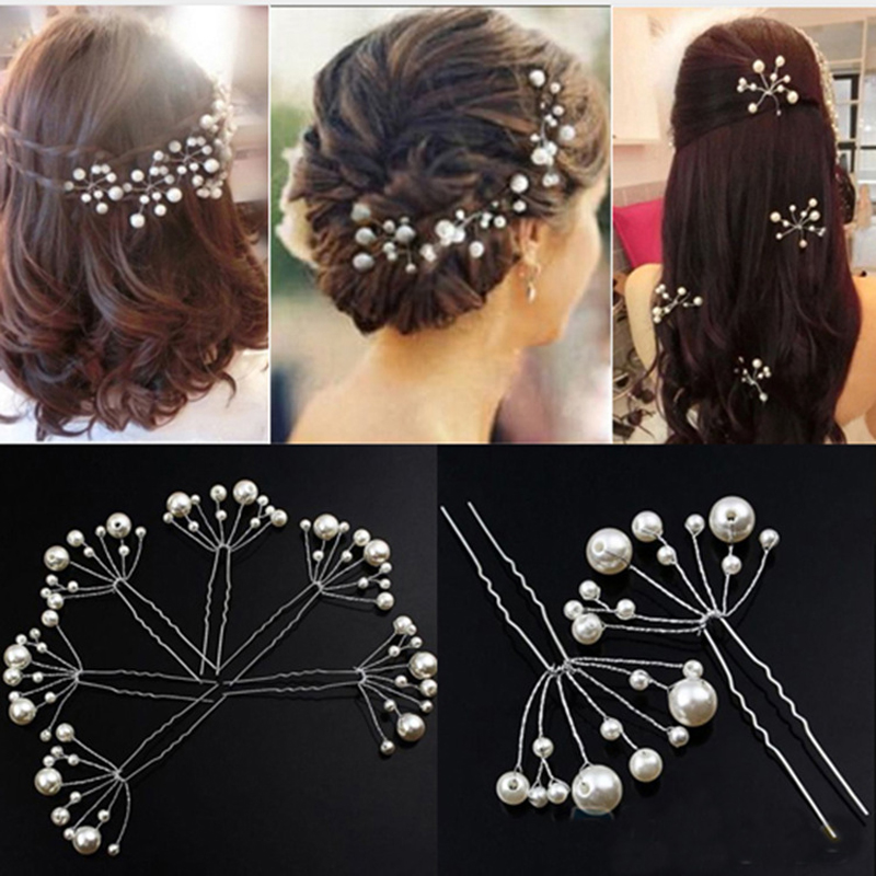 fashion women silver wedding pearls hairpins crystal vine bridal head wear hair accessories diamond headpiece 5Pcs Hairpins Women Girls Accessories Hairstyles Wedding Bridal Hair Pins Bridesmaid Jewelry Hairwear Hair Clips Hair Barrette