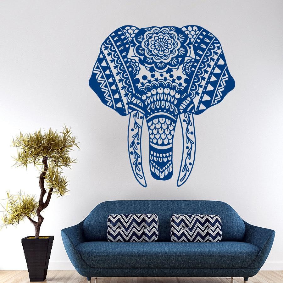 Wall Decal Elephant Mandala Meditation Buddha Bohemian Wall Sticker ...