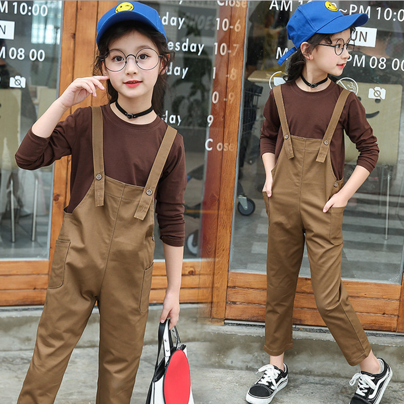 Baby Girl Clothes 2017 Spring autumn Costumes Long Sleeve Cotton Shirts Tops+Straps pants 2pcs Set children clothing 3 4 6 8 12T free shipping children clothing spring girl three dimensional embroidery 100% cotton suit long sleeve t shirt pants