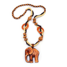 Boho Jewelry Ethnic Style Long Hand Made Bead Wood Elephant Pendant Necklace For Women Price Decent(China)