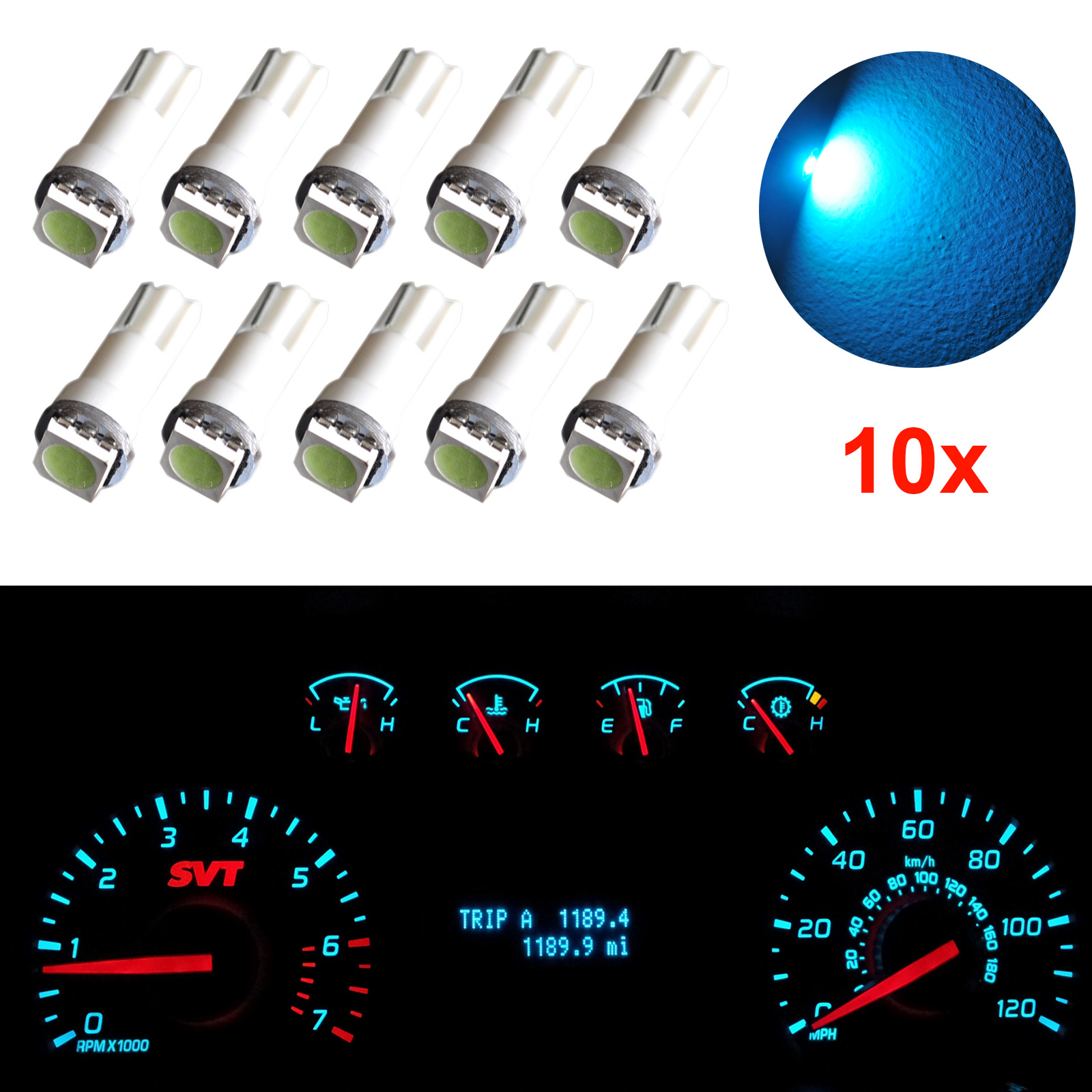 10pcs <font><b>T5</b></font> 17 37 73 74 <font><b>SMD</b></font> <font><b>5050</b></font> Wedge Instrument Dashboard Car <font><b>LED</b></font> Light Bulb For Ford M8617 image