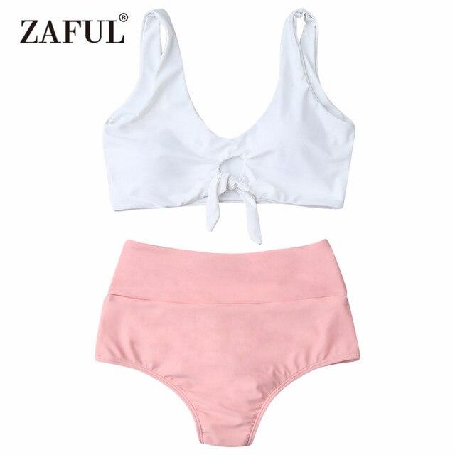 b830ab21496ab Zaful 2018 Swimwear Women High Waisted Swimsuit Push up Ruched Front  Knotted Bikini Padded Bathing Suit maillot de bain Biuqni