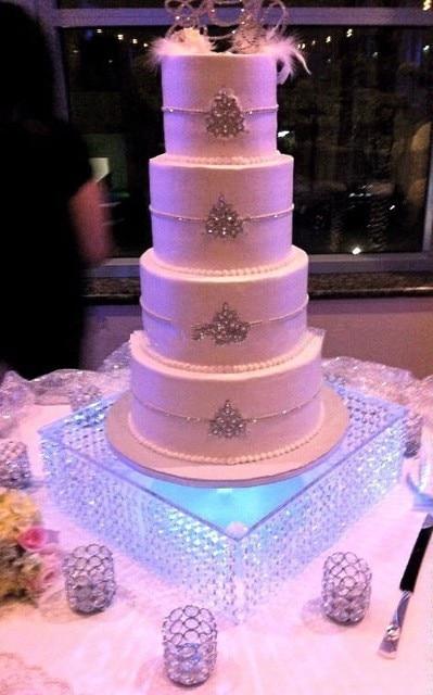 Wedding Centerpiece Cake Decorating Cupcake Stand 3 Layer Square Crystal Acrylic Wedding Cake Stand Dessert Table Cake Rack Home & Garden